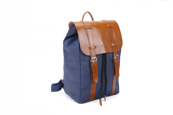 sugrbag Popy backpack jeans blue / brown leather