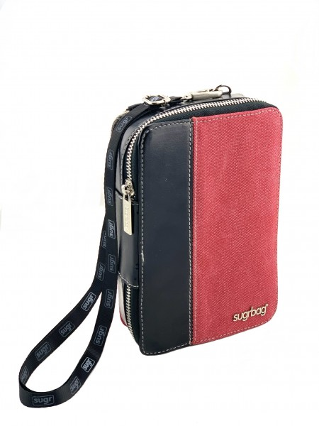 "sugrbag Charge ""black leather & red/ grey canvas"""