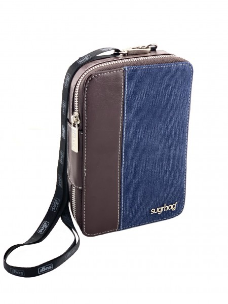 "sugrbag Charge ""brown leather & blue/ grey canvas"""